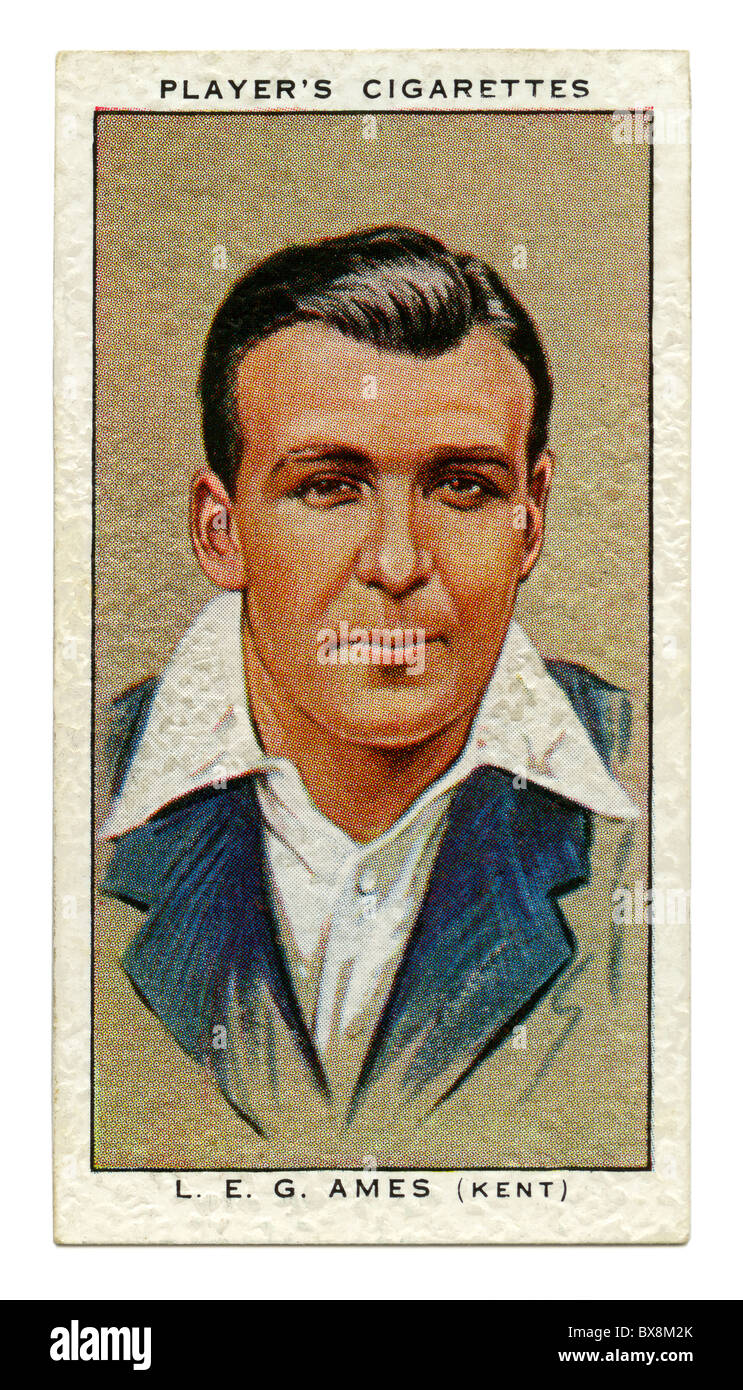 1934 cigarette card with portrait of cricket player of wicket keeper Les (Leslie) Ames of Kent and England - Stock Image