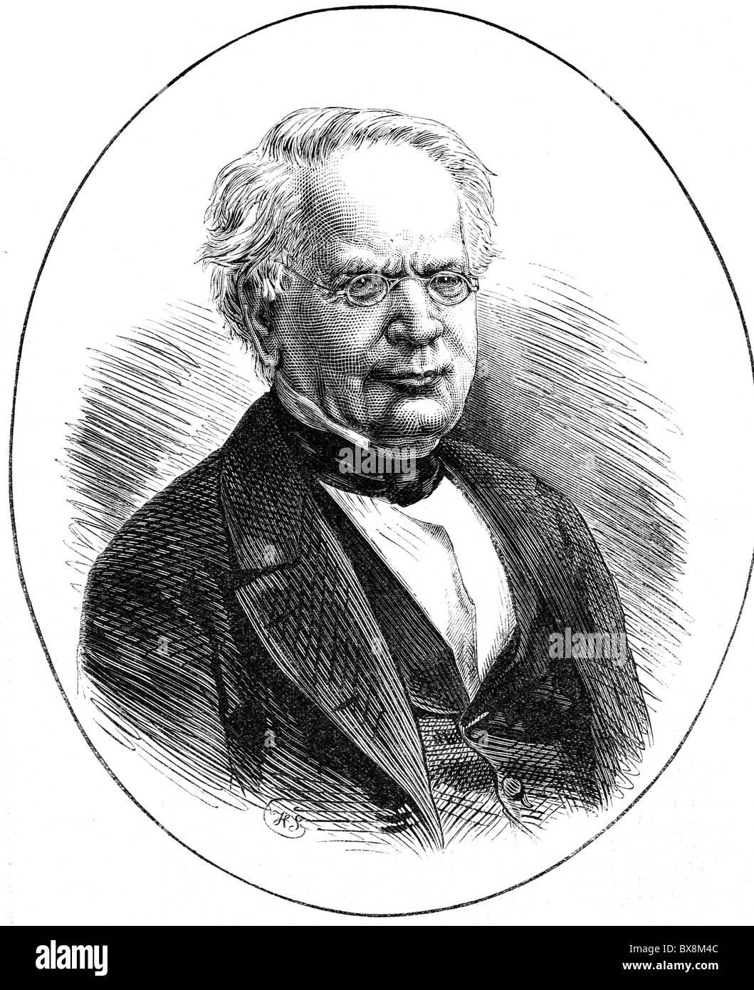 Moerikofer, Johann Kaspar, 11.10.1799 - 17.10.1877, Swiss theologian, portrait, published in 1877, Additional-Rights Stock Photo