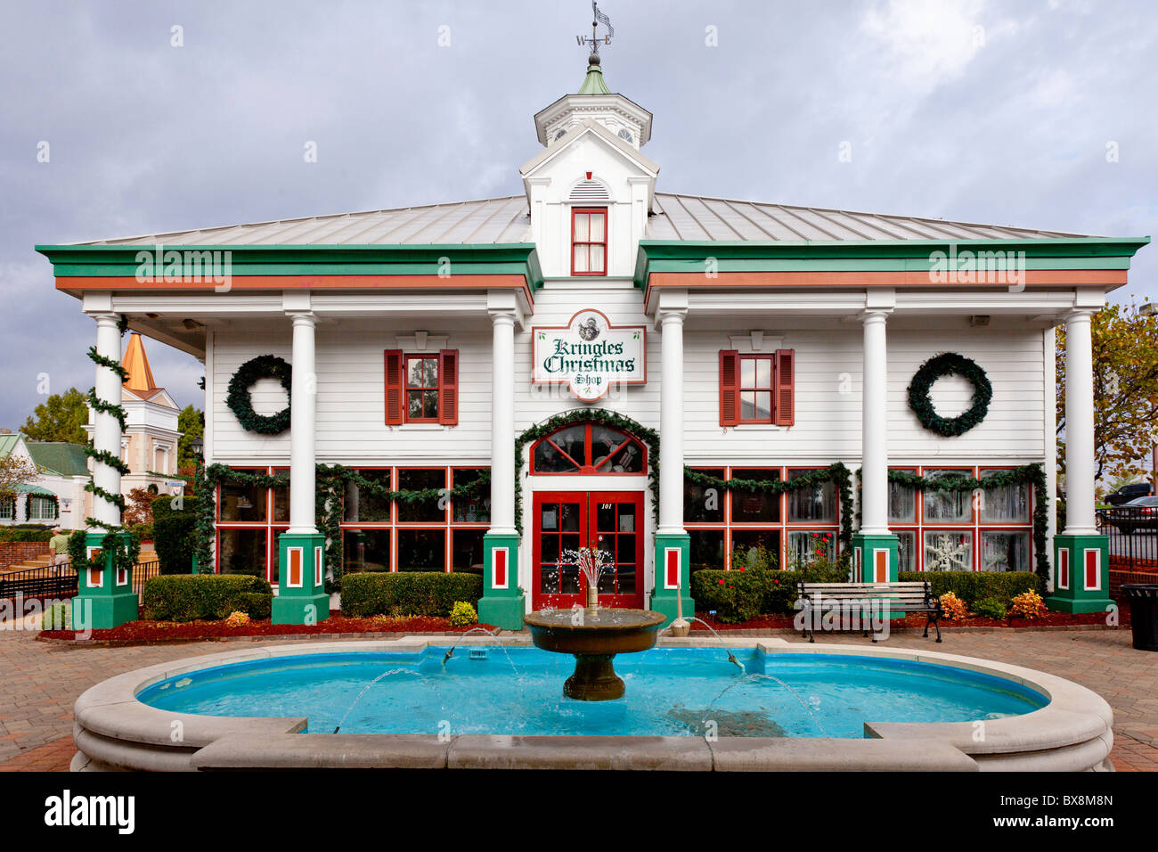 shops and stores decorated for christmas at the grand village shopping center in branson missouri - When Does Branson Mo Decorate For Christmas