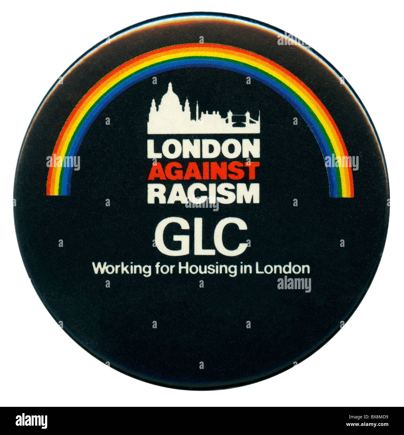 GLC 'London against Racism' button badge c. 1982 - Stock Image