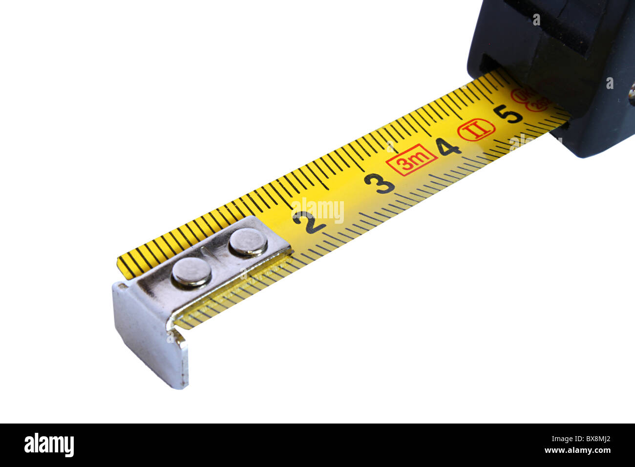 Yellow Retractable Steel Tape measure on white background - Stock Image