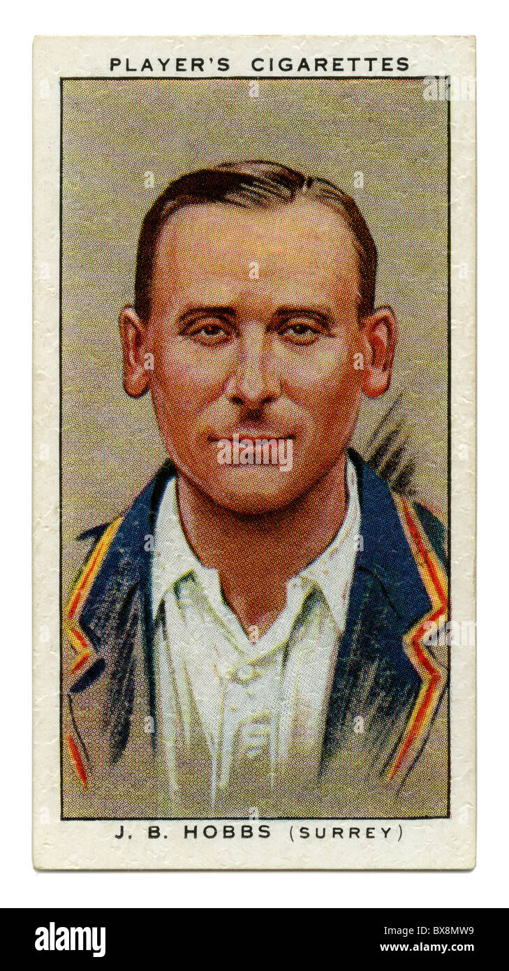 1934 cigarette card with portrait of cricket player of Jack Hobbs of Surrey and England - Stock Image