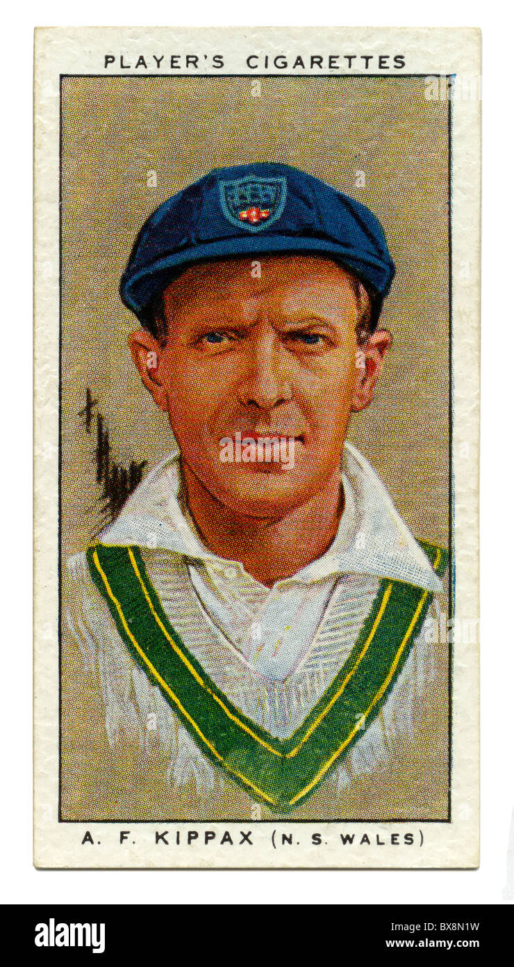 1934 cigarette card with portrait of cricket player of Alan Kippax of NSW and Australia - Stock Image