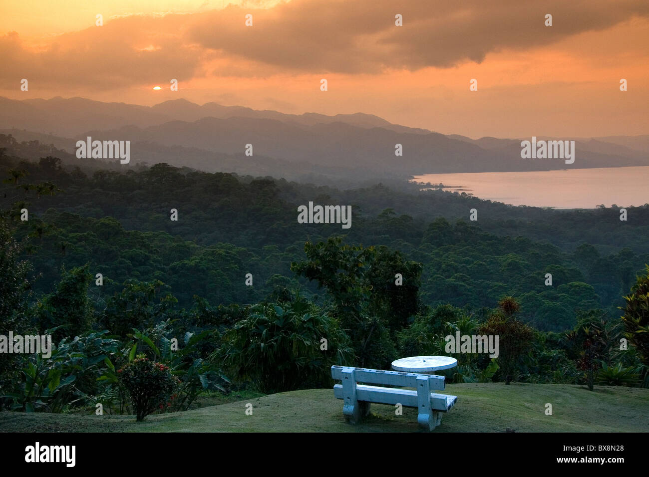 Sunset over Arenal Lake and the Cordillera Central from Arenal Volcano National Park near La Fortuna, San Carlos, - Stock Image