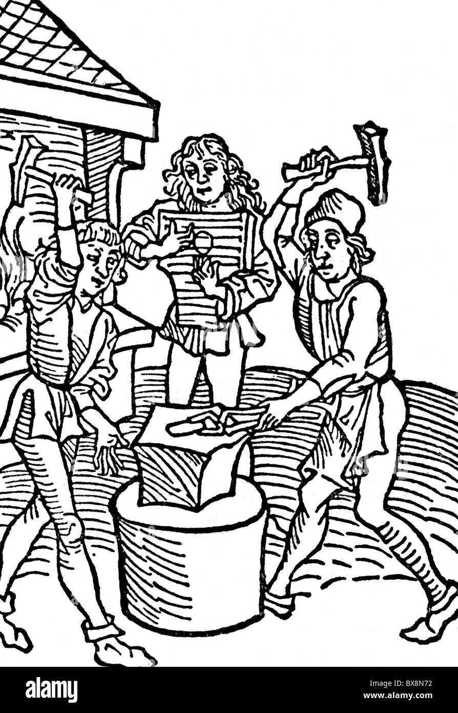 people, professions, smith, two smiths at double beat to the bar of a harp, Germany, 15th century, hammer, hammering, - Stock Image