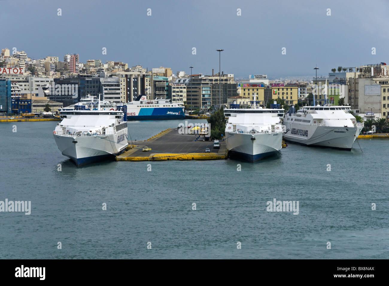 Speed Lines Speedrunner ferries berthed in Piraeus Piraeus harbour Greece - Stock Image