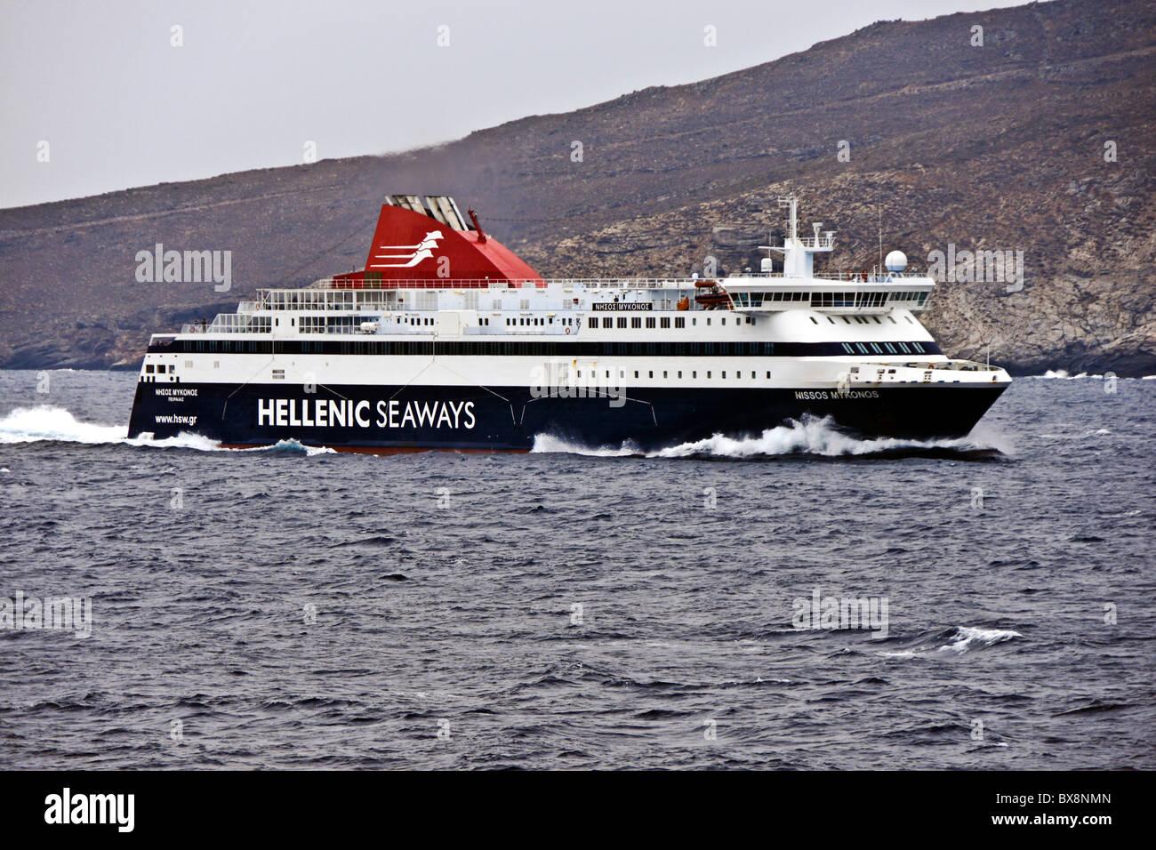 Hellenic Seaways car and passenger ferry Nissos Mykonos at sea between Mykonos and Piraeus in Greece - Stock Image