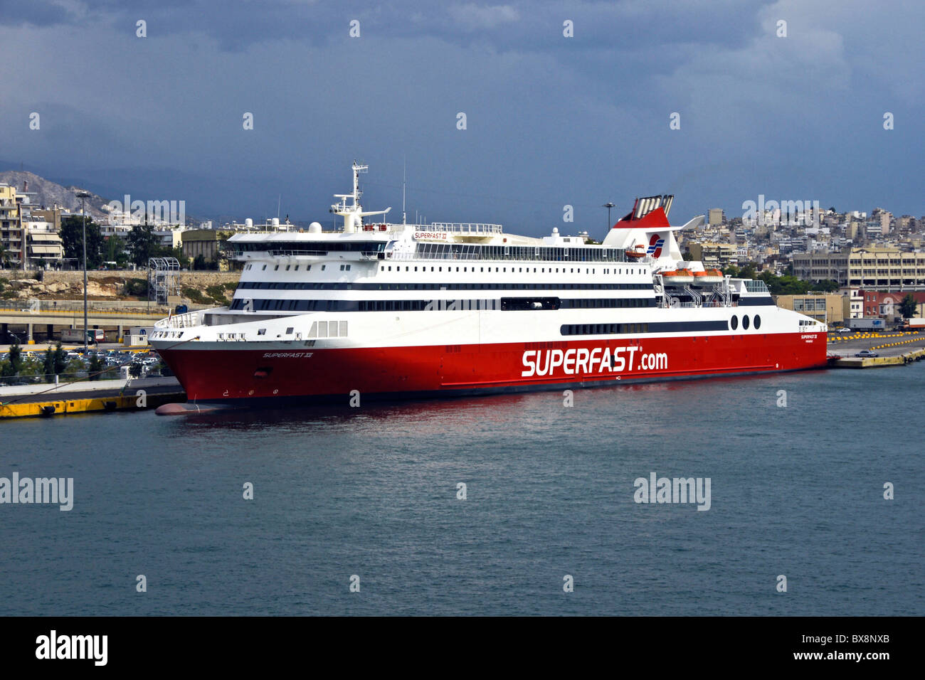 Superfast Ferries passenger car ferry Superfast XI in Piraeus harbour Greece - Stock Image