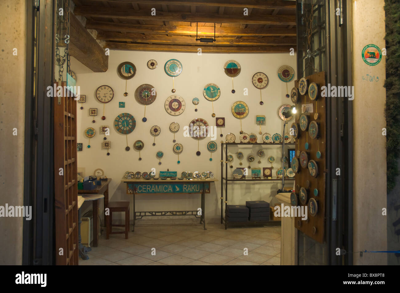 Shop selling clocks centro storico the old town Rome Italy Europe - Stock Image