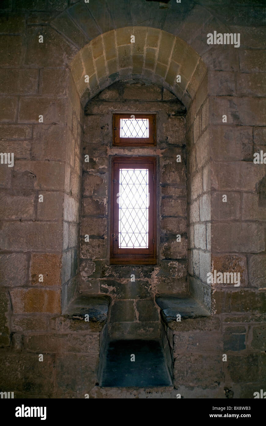 Old Stone Window Seat Inside A Castle In The Medieval City