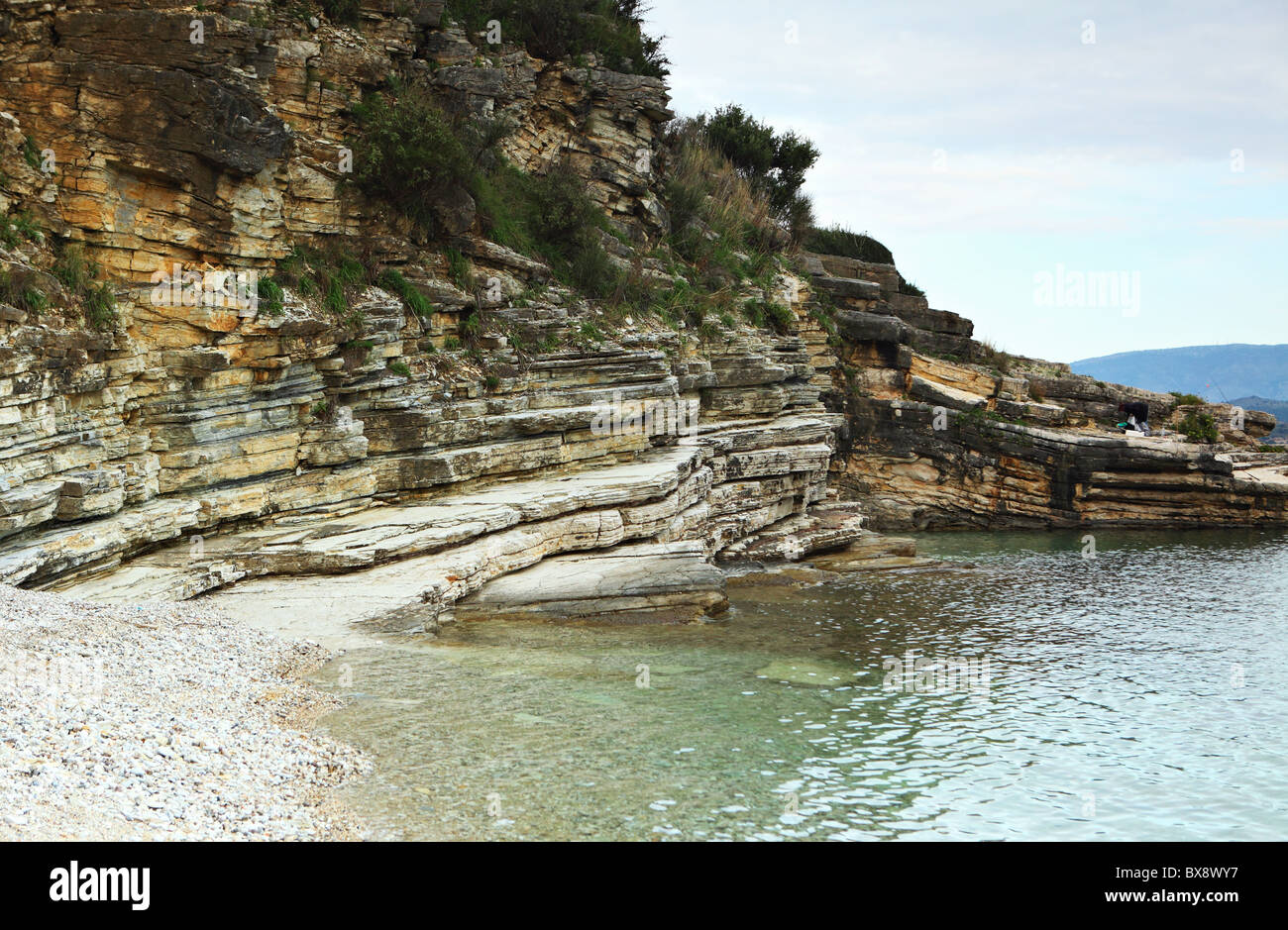 Limestones unconformably overlaid by shales with faulting (centre right) and evidence of tectonic activity, Corfu, - Stock Image