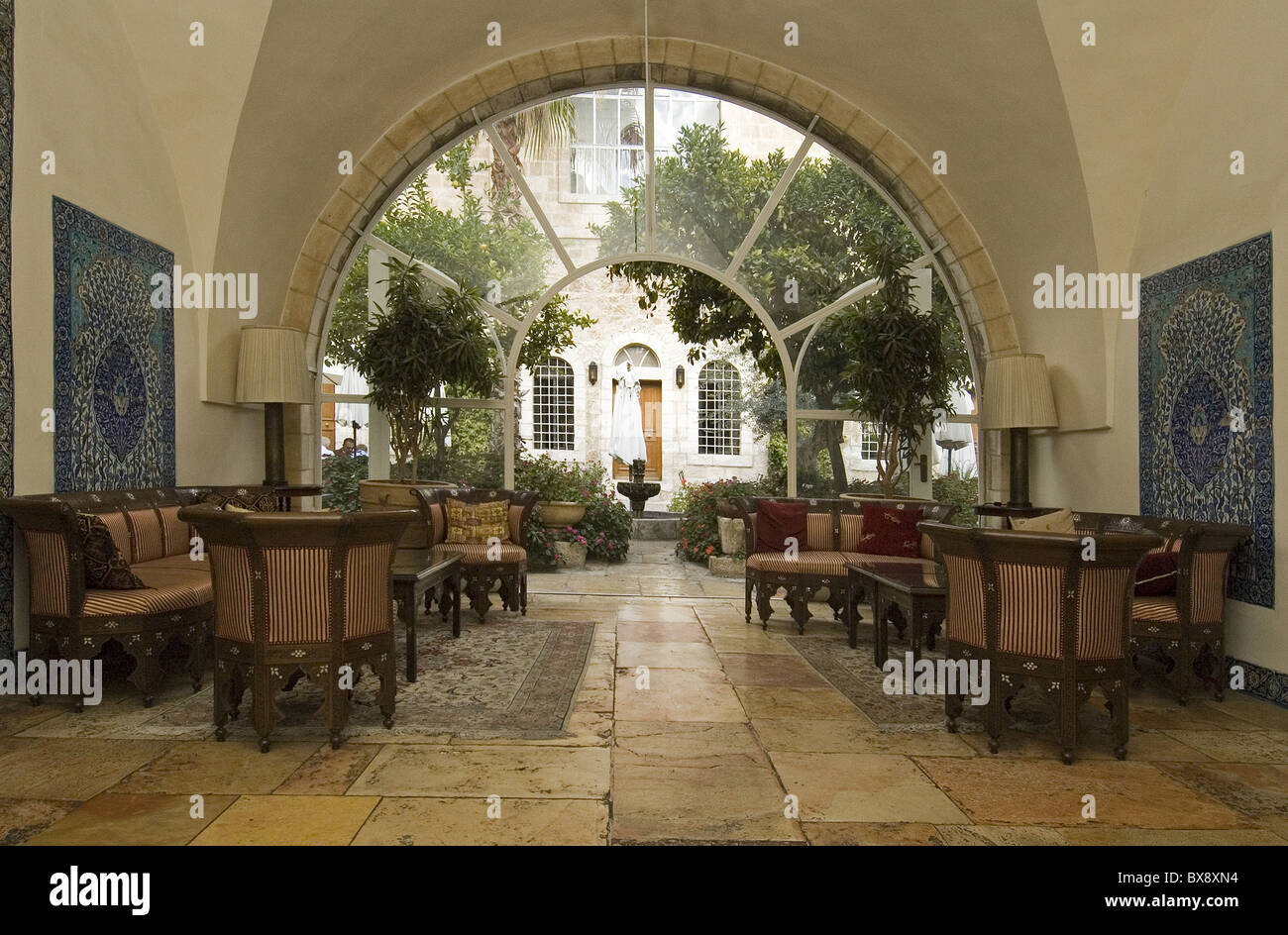 The lobby of the American Colony Hotel located in a historic building which previously housed the utopian American - Stock Image
