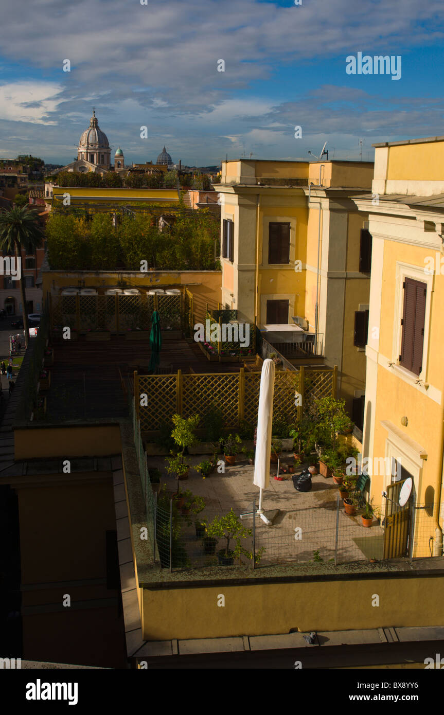 Rooftop Balcony Gardens With Views Towards St Peteru0027s Church In Vatican  Central Rome Italy Europe
