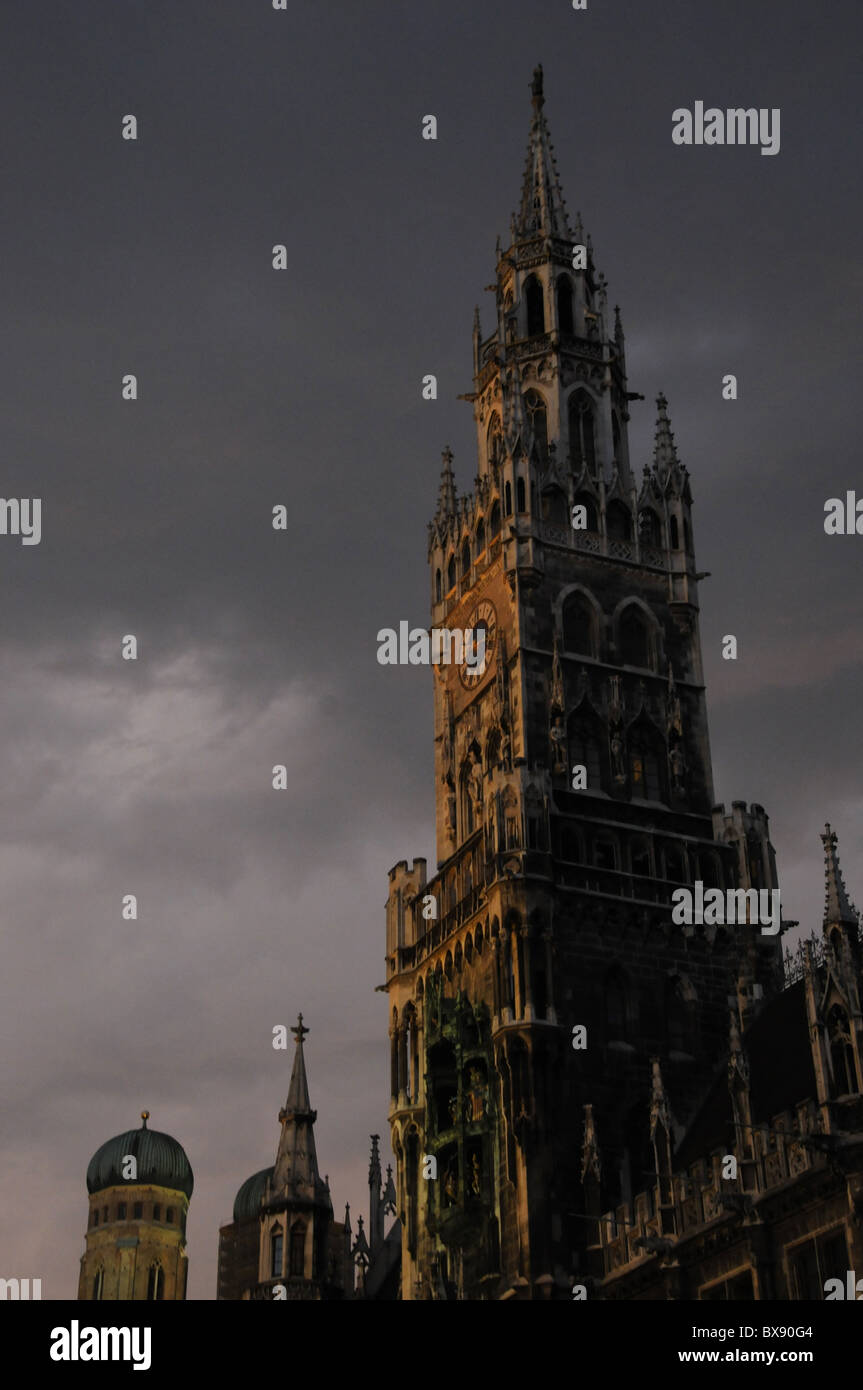 Evening, dusk, evening, dusk, evening, evening mood, Germany, Munich, Town Hall, travel, travel, cityscape, cityscapes, - Stock Image