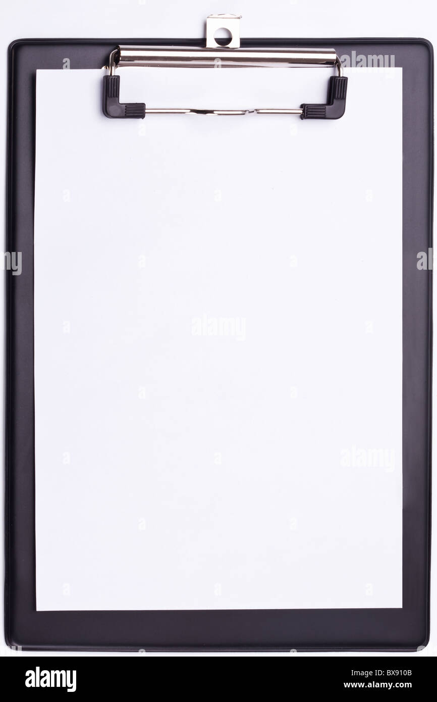 Black clipboard on a white background. - Stock Image