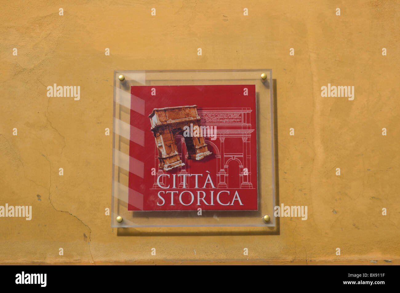 Citta storico the historical city sign Villa Borghese park Rome Italy Europe - Stock Image