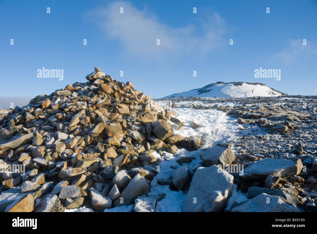 Large cairn near the summit of Scafell Pike, the highest mountain in England - Stock Image
