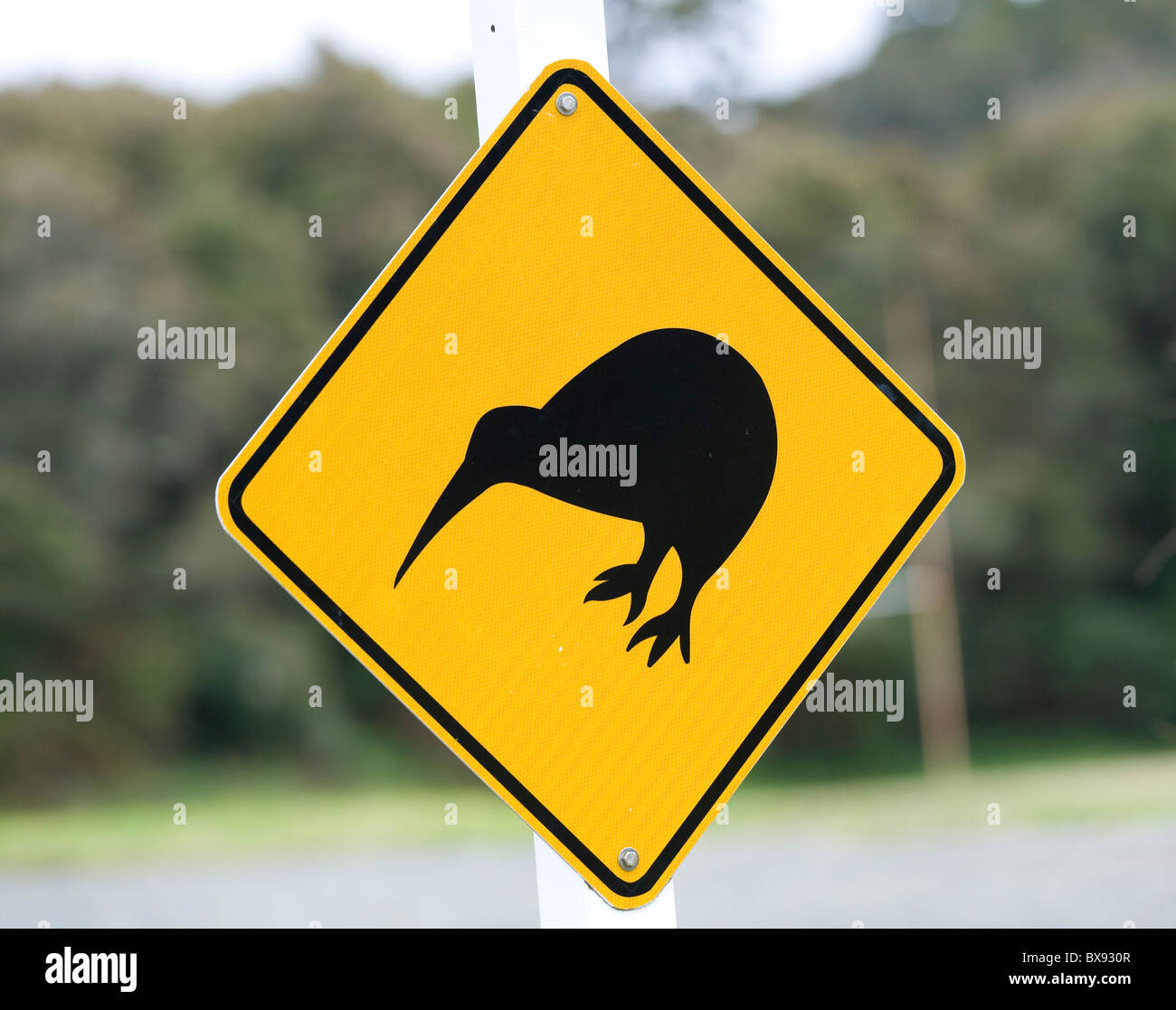 Kiwi crossing road sign, Oban, Stewart Island, New Zealand. Stock Photo