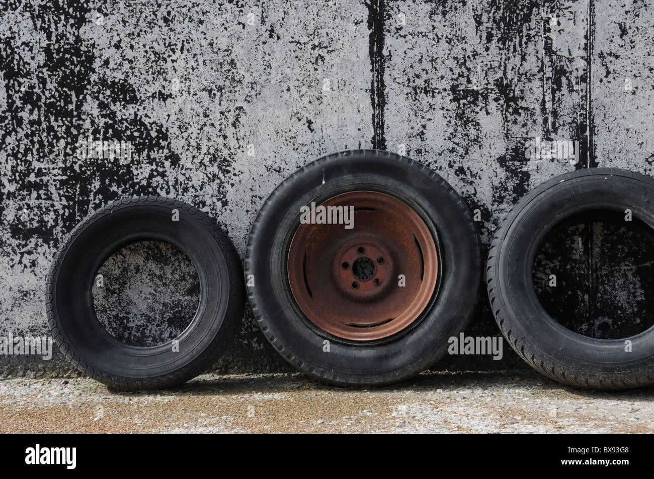 Scrap tire storage Stock Photo