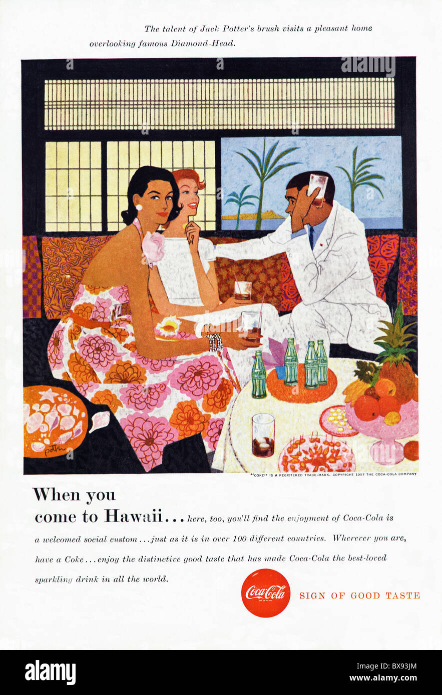 Classic Coca Cola colour advert featuring painting of Hawaii by artist Jack Potter in American magazine circa 1957 - Stock Image