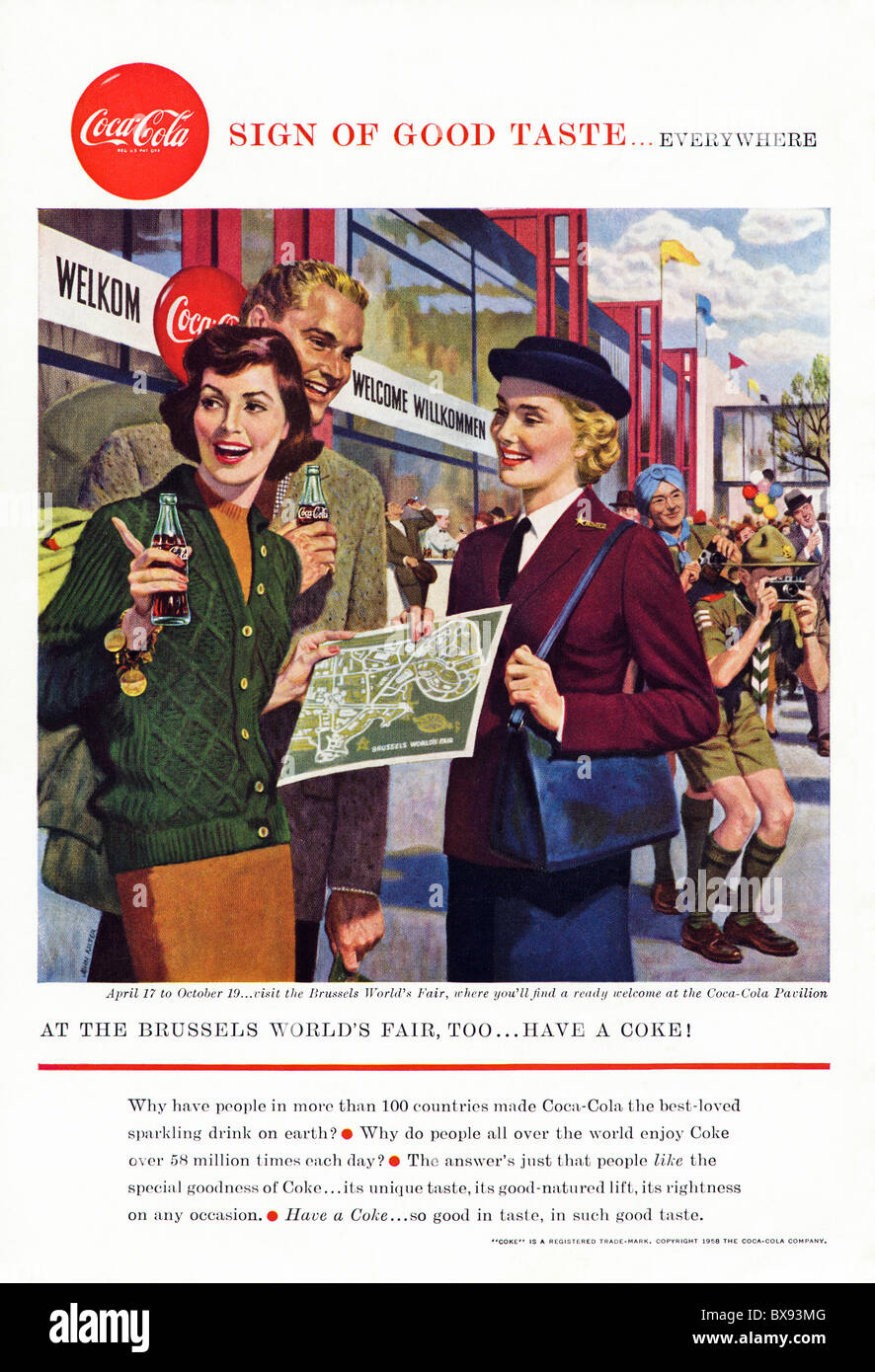 Classic Coca Cola colour advert featuring illustration of Brussels World's Fair in American magazine circa 1958 - Stock Image