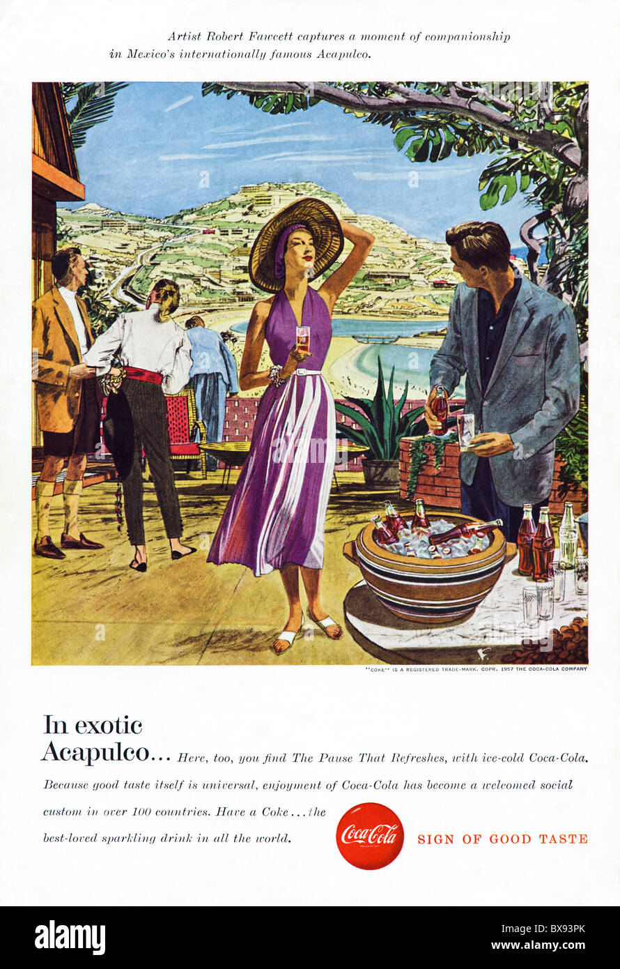 Classic Coca Cola colour advert featuring painting of Acapulco by artist Robert Fawcett in American magazine circa - Stock Image