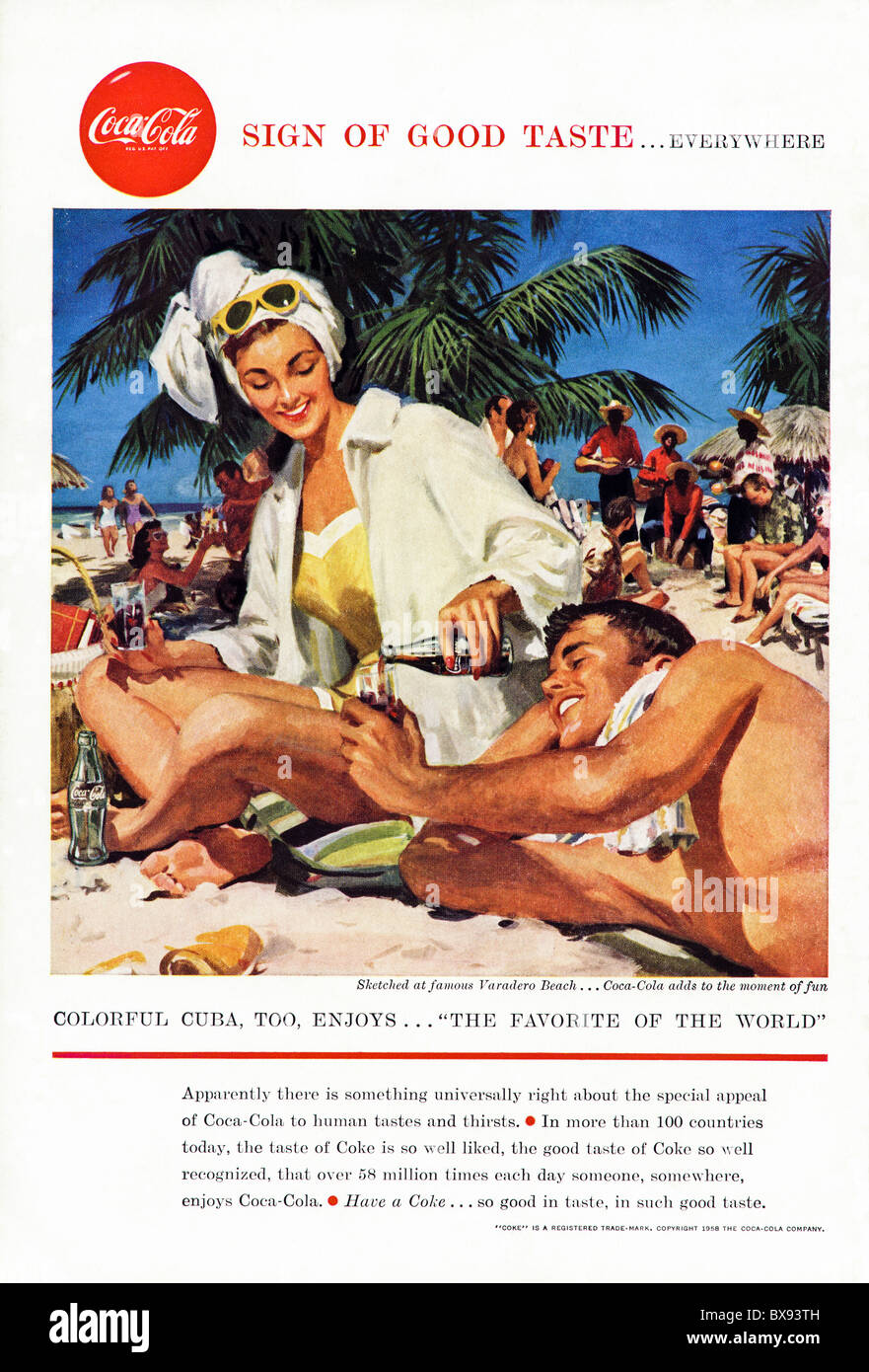 Classic Coca Cola colour advert featuring illustration of Varadero Beach Cuba in American magazine circa 1958 - Stock Image