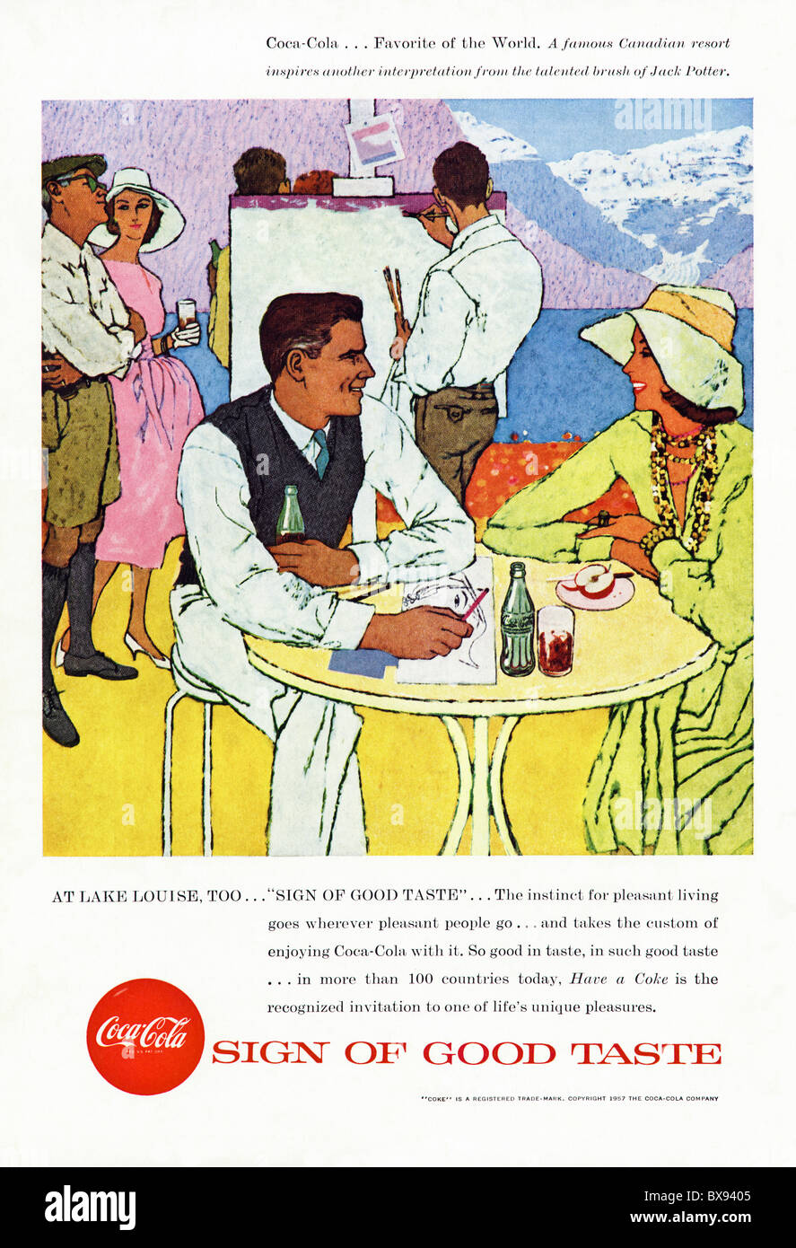 Classic Coca Cola colour advert featuring painting of Canadian Resort Lake Louise by artist Jack Potter in American - Stock Image