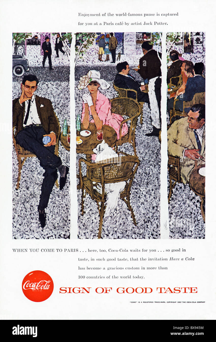 Classic Coca Cola colour advert featuring painting of Paris cafe by artist Jack Potter in American magazine circa - Stock Image