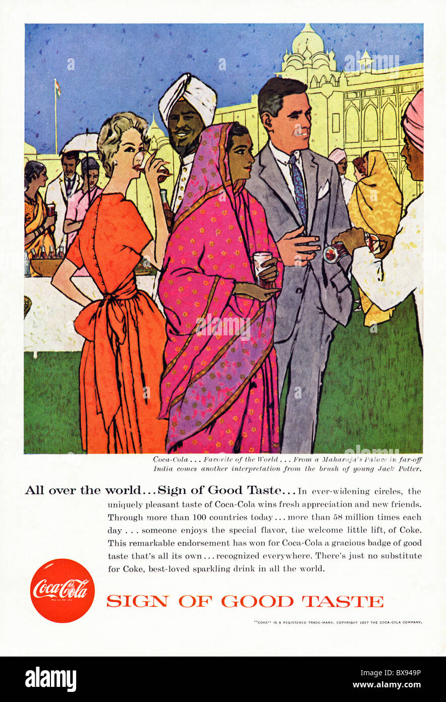 Classic Coca Cola colour advert featuring painting of India by artist Jack Potter in American magazine circa 1957 - Stock Image