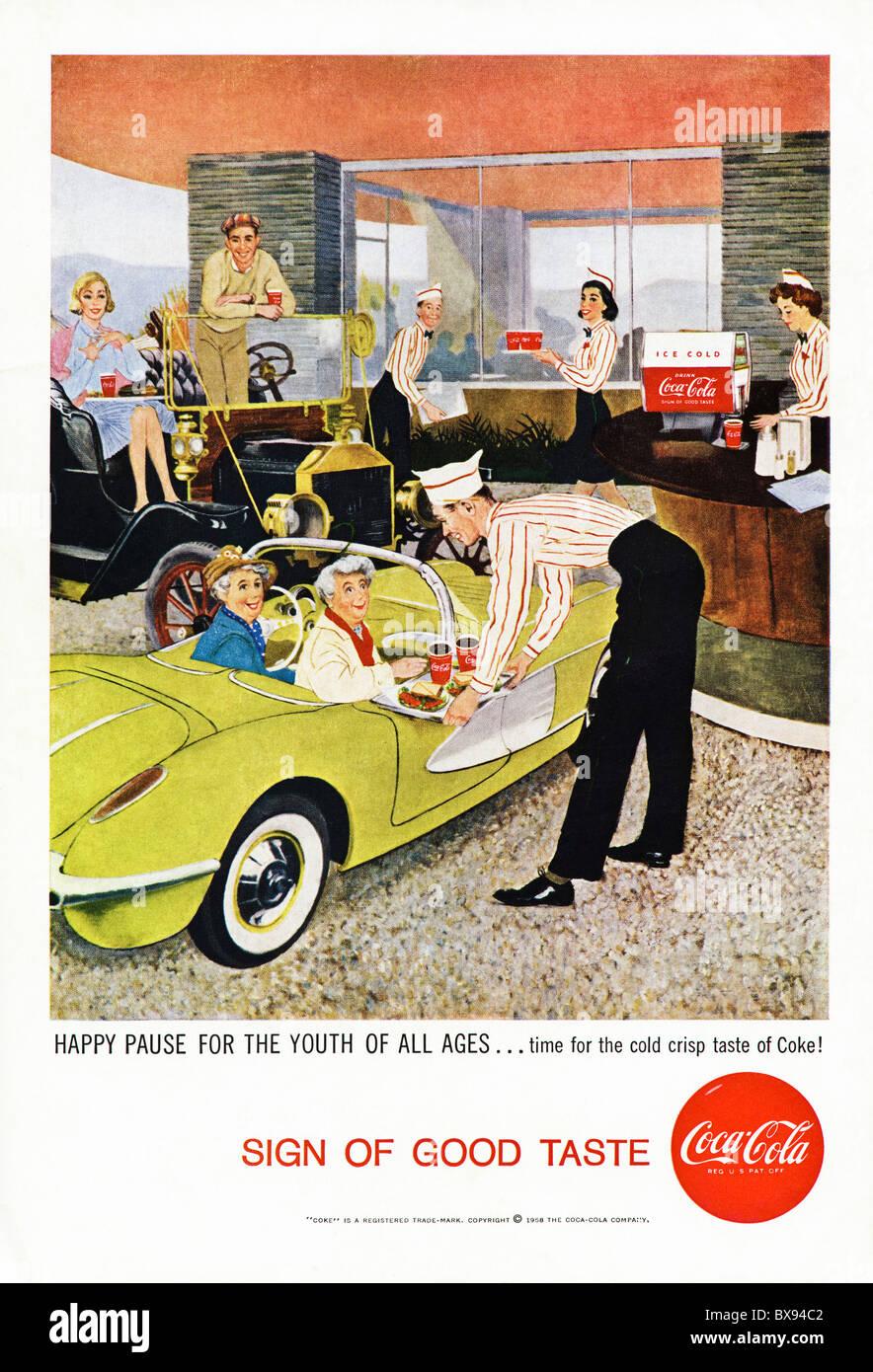 Classic Coca Cola colour advert featuring illustration drive through scene with elderly ladies in American magazine - Stock Image