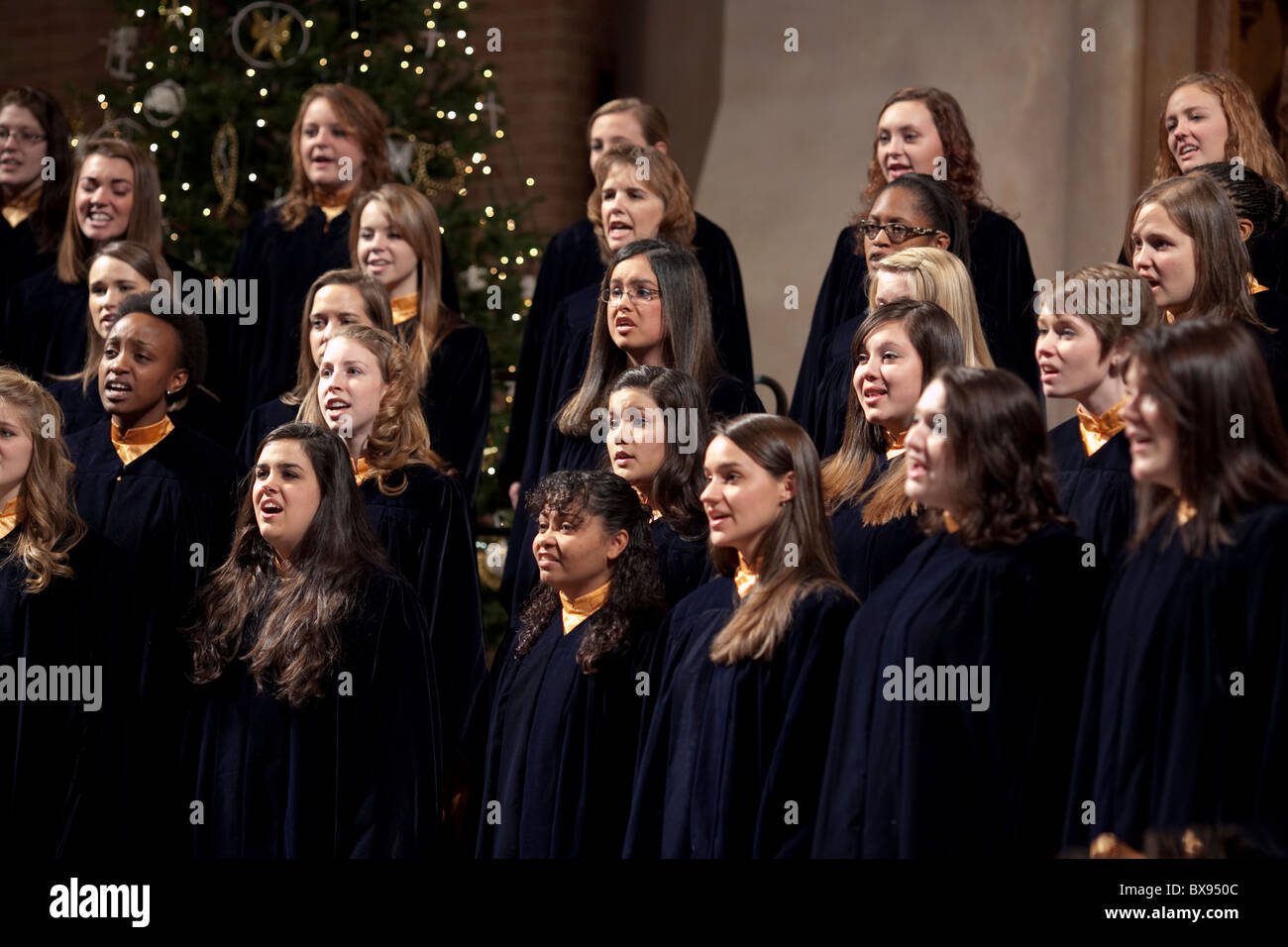Texas Lutheran University's choir Christmas Vespers performance a Christmas tradition performed at Saint Martins - Stock Image