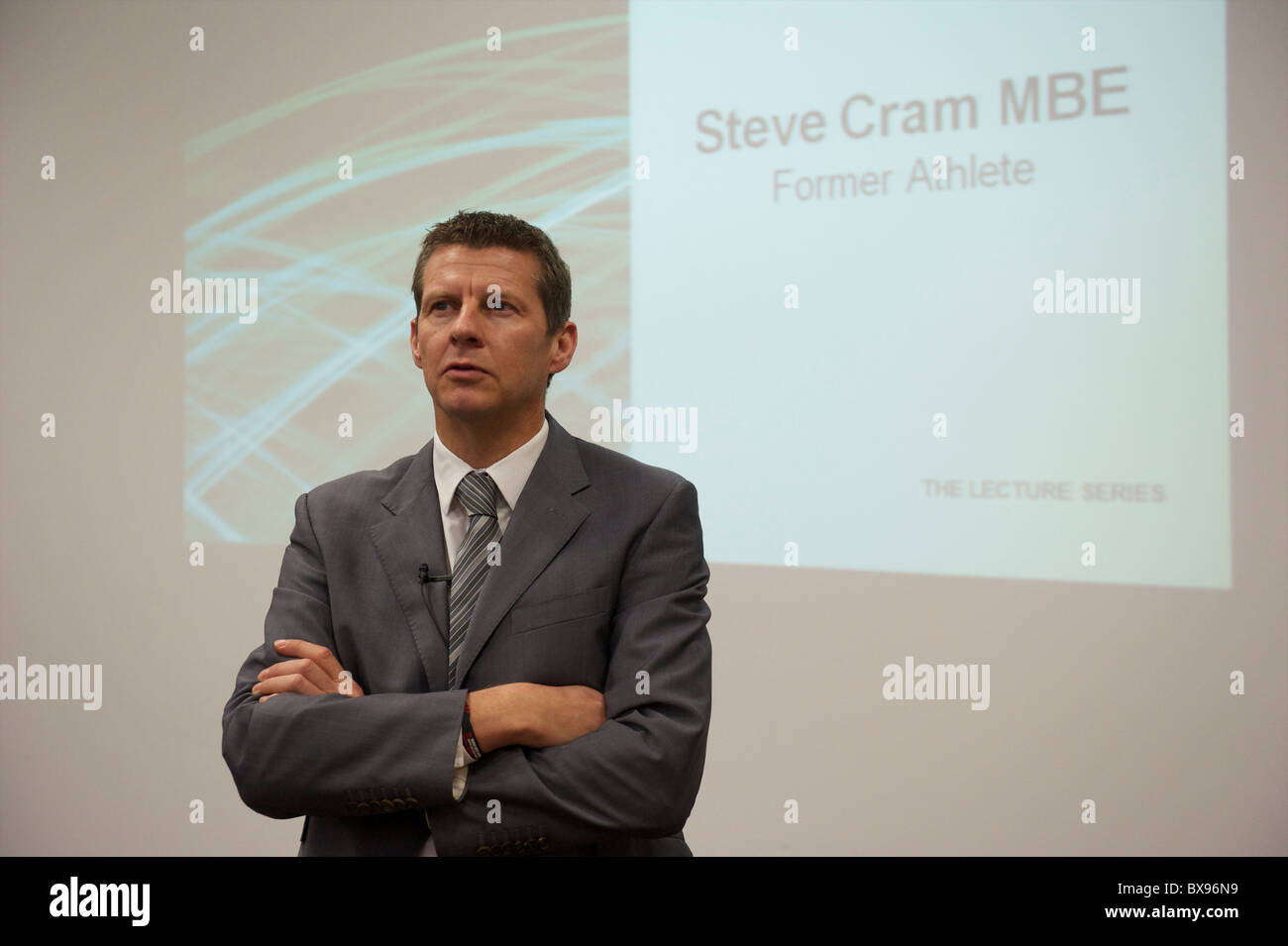 Gold medalist Steve Cram delivered a lecture as part of De Montfort University's Distinguished Lecture Series - Stock Image