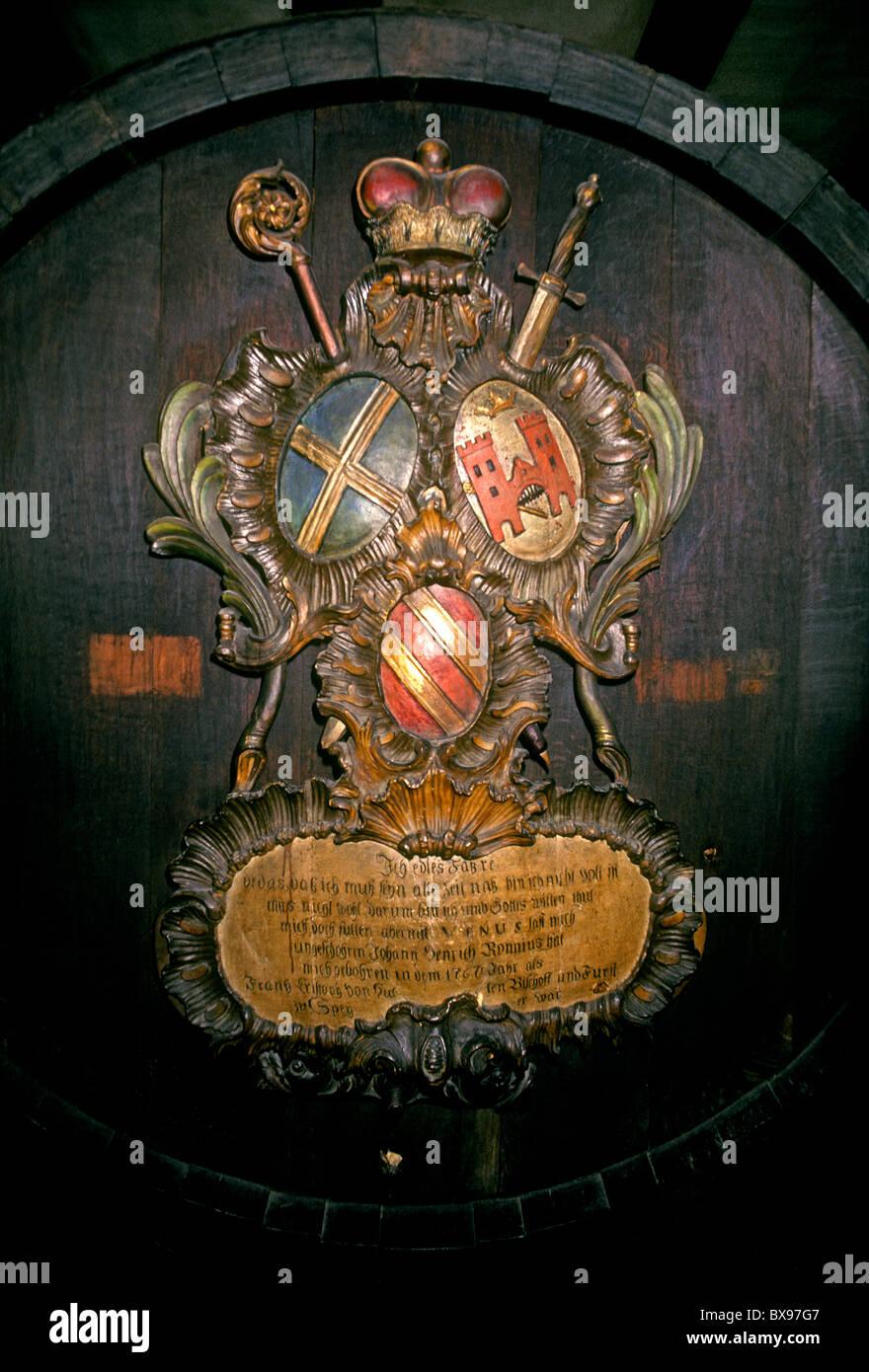 wine barrel, wooden wine barrel, circa 18th century, 18th century, Unterlinden Museum, Musee d'Unterlinden, Colmar, Stock Photo