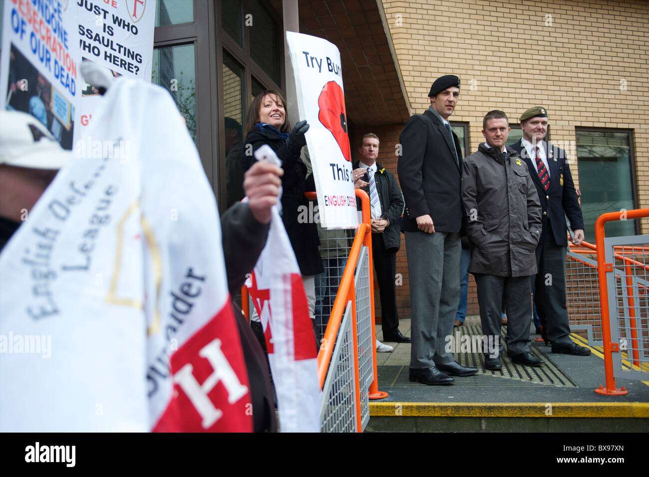 English Defence League (EDL) leader Tommy Robinson, also known as Stephen Lennon, emerges from the West London Magistrates - Stock Image