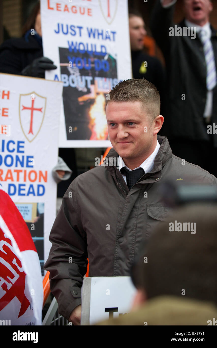 English Defence League (EDL) leader Tommy Robinson, also known as Stephen Lennon, departs the West London Magistrates - Stock Image