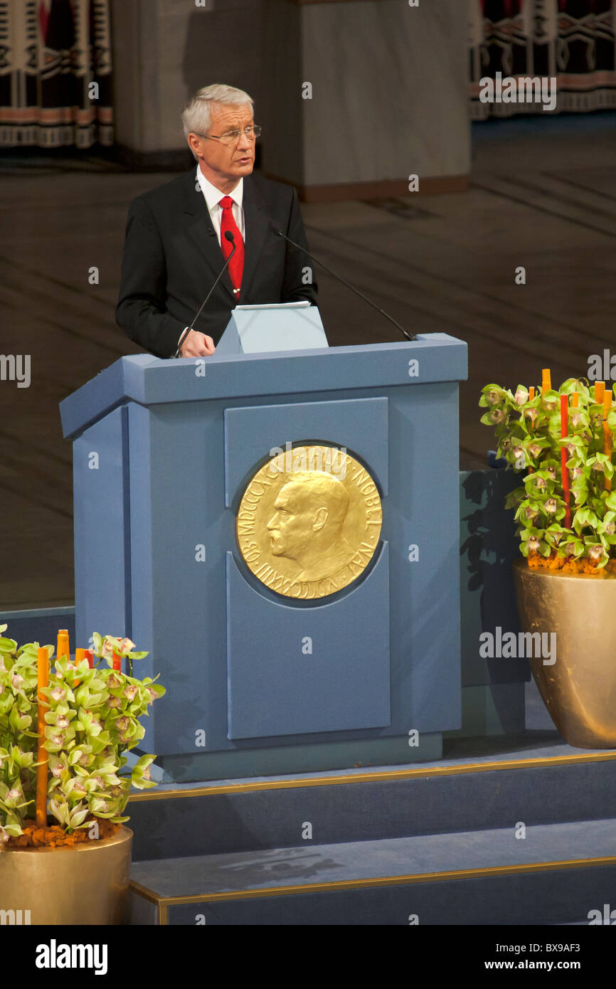 Chinese dissident Liu Xiaobo was awarded the Nobel Peace Prize in absentia on December 10, 2010, at a solemn ceremony - Stock Image