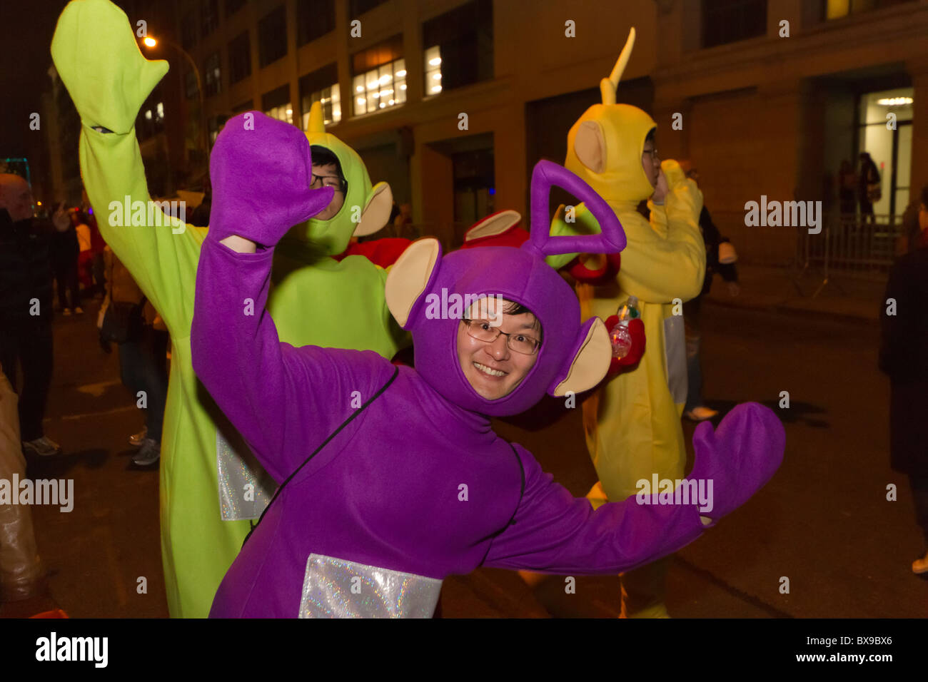 korean americans dressed as teletubbies at the 2010 greenwich village halloween parade in new york city