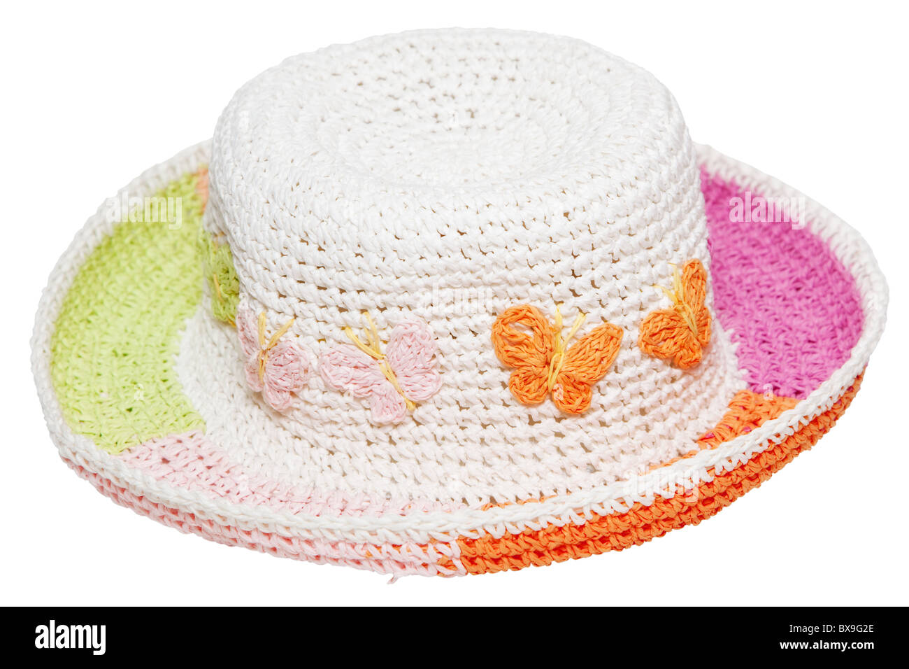 Wicker Children's hat. Head-dress for girls. An isolated object on a white background. - Stock Image
