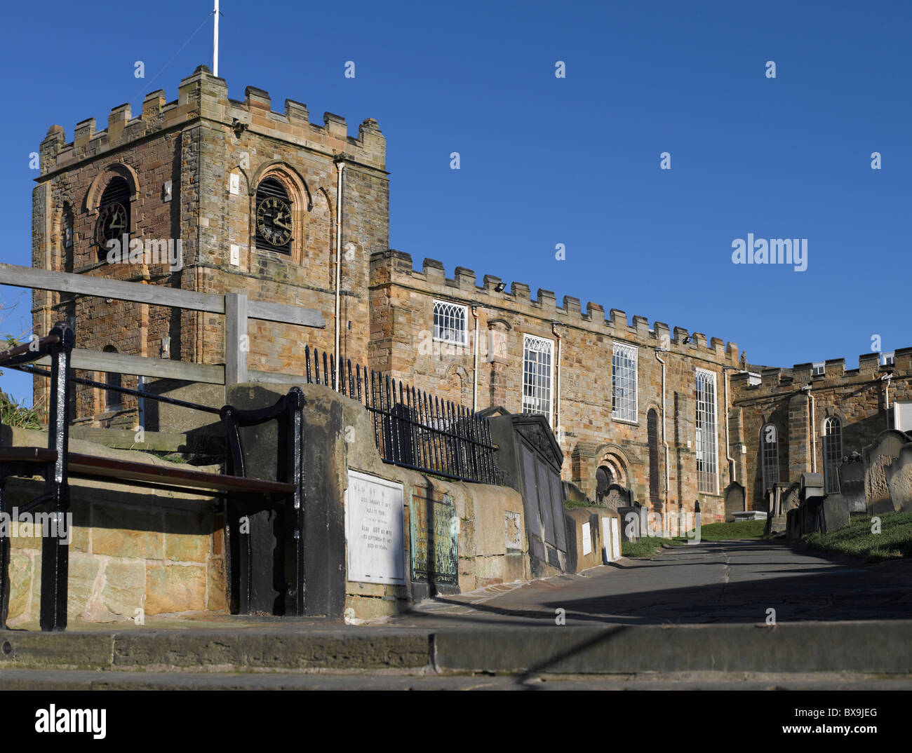 St Marys Church and graveyard East Cliff Whitby North Yorkshire England UK United Kingdom GB Great Britain Stock Photo