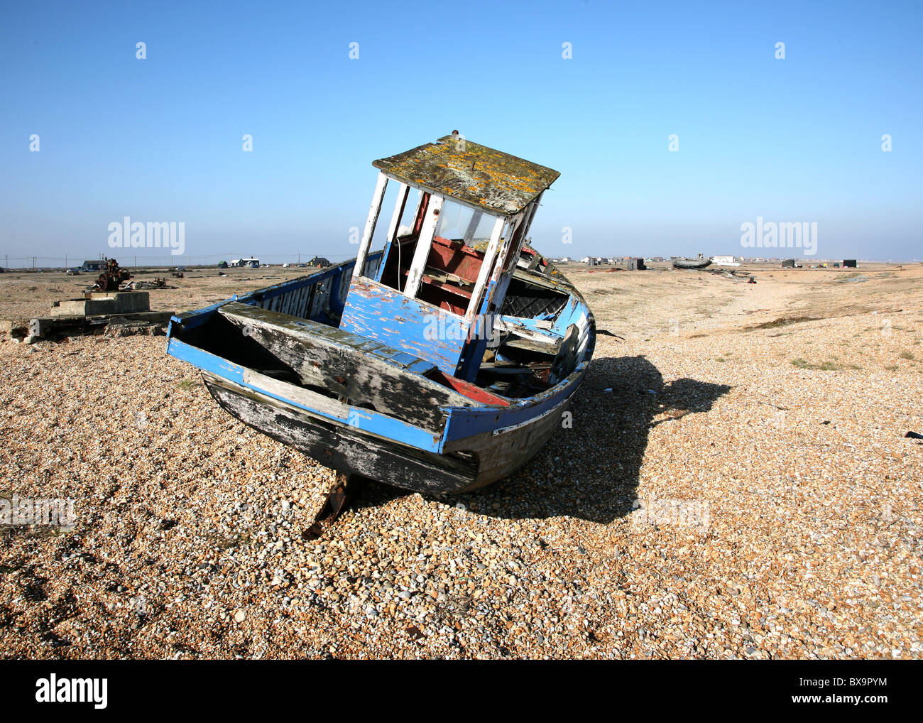 Abandoned boat at Dungeness - Stock Image