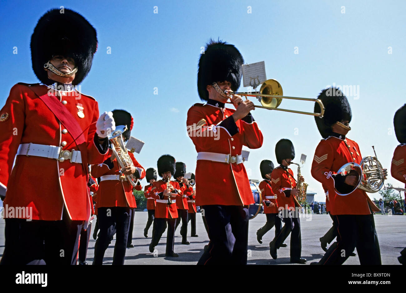 Marching band of soldiers from the Royal Canadian Regiment during the Changing of the Guard ceremony, Quebec City, - Stock Image