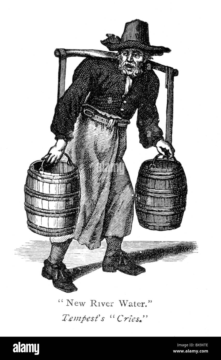 The River Water Seller; Engraving by Marcellus Laroon or Lauron from the 'Cryes and Habits of the City of London' - Stock Image