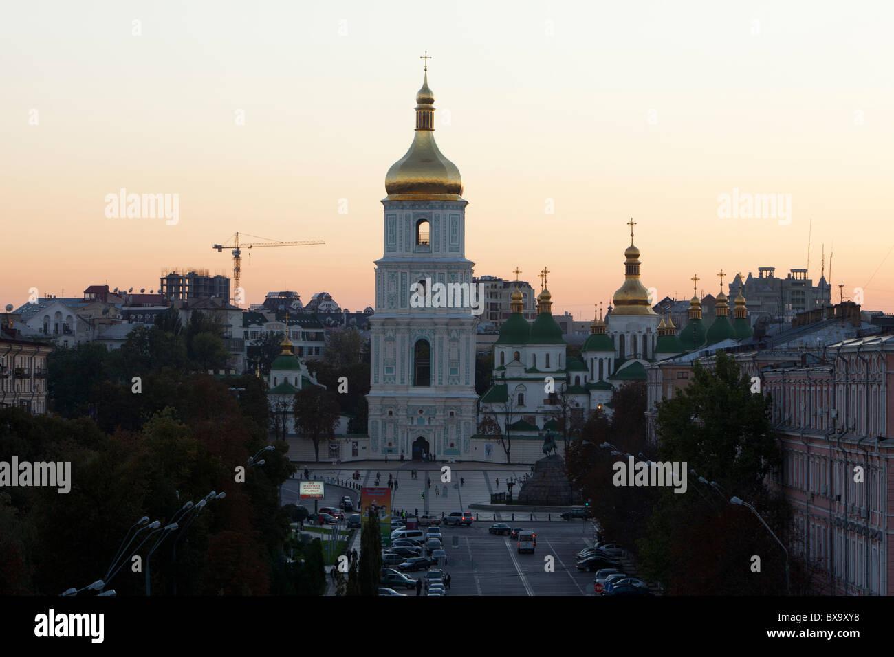 Saint Sophia Cathedral at sunset in Kiev, Ukraine - Stock Image