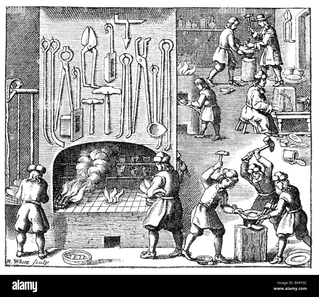 Emblems of the Silversmiths Craft, 1700; Black and White Illustration; - Stock Image