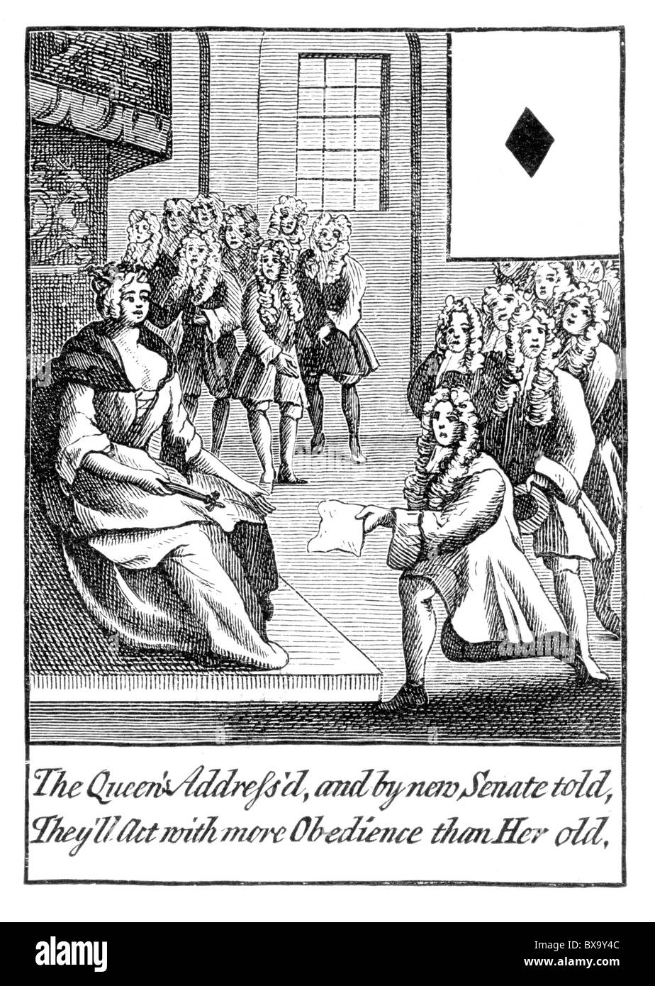 Design For An 18th Century Playing Card 1710 Queen Anne Receiving Address From The New Parliament