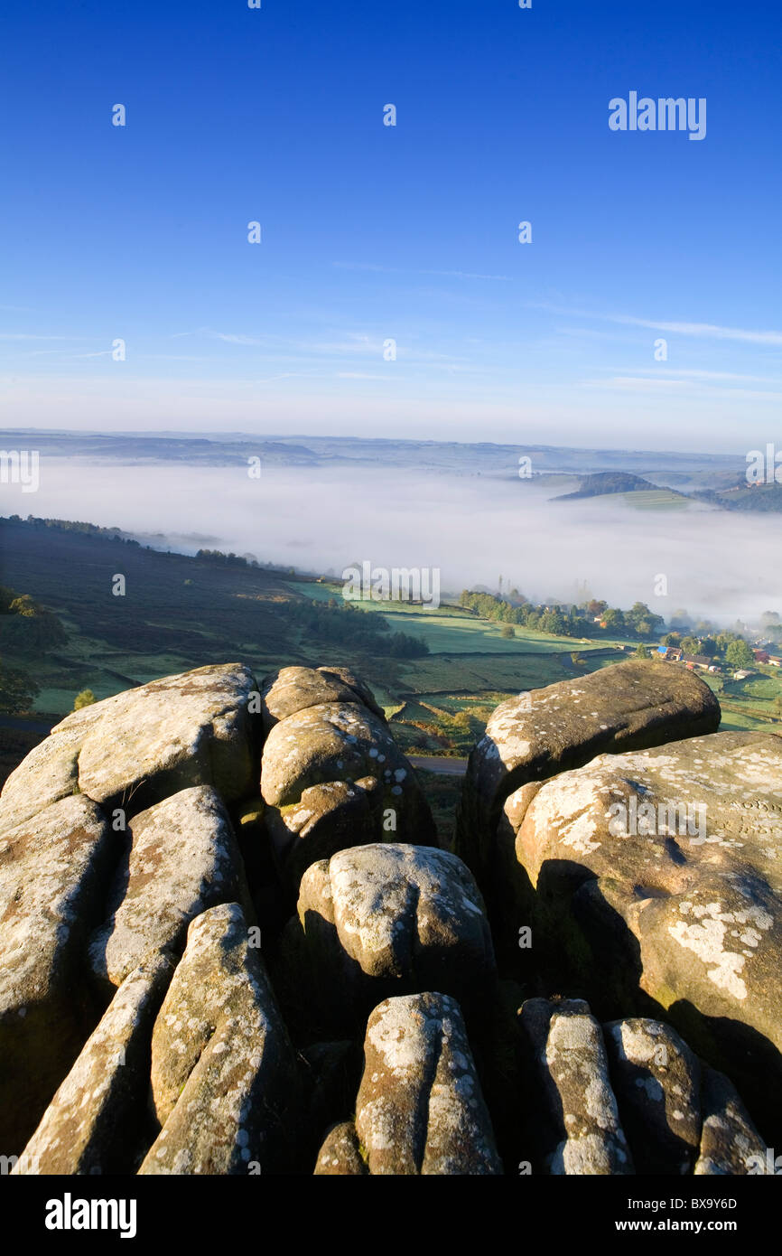 View from Curbar edge, Peak District National Park, Derbyshire, England, UK - Stock Image