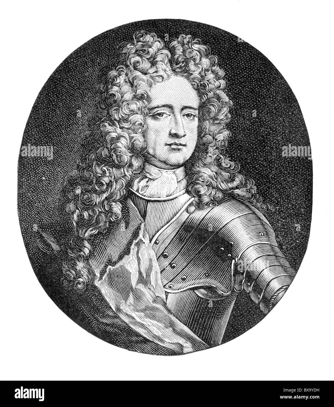 Portrait of Charles Mordaunt, 3rd Earl of Peterborough and 1st Earl of Monmouth; Black and White Illustration; Stock Photo