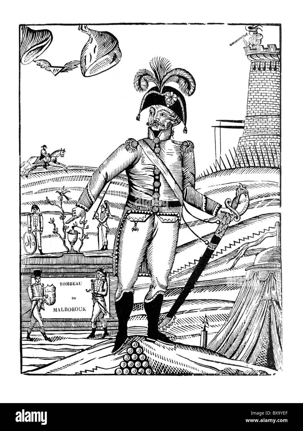 Malborouk, a French Satire on the death of John Churchill, 1st Duke of Marlborough; Black and White Illustration; - Stock Image
