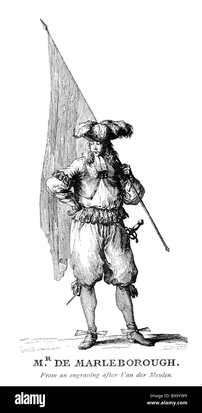 Mr De Marleborough after Adam Frans van der Meulen; Black and White Illustration; - Stock Image